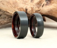 Black Zirconium & Wood Ring