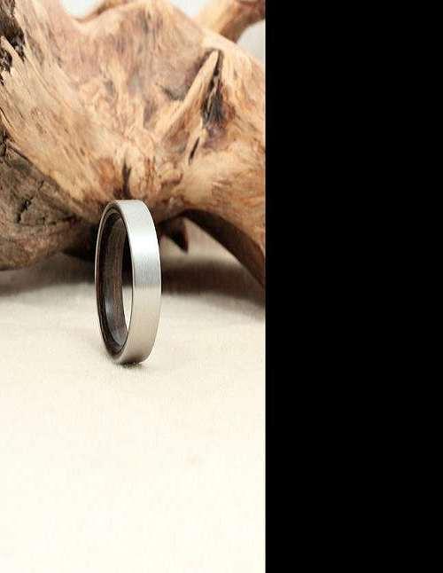 Koa Tungsten Carbide Inlaid Ring Mid Stripe