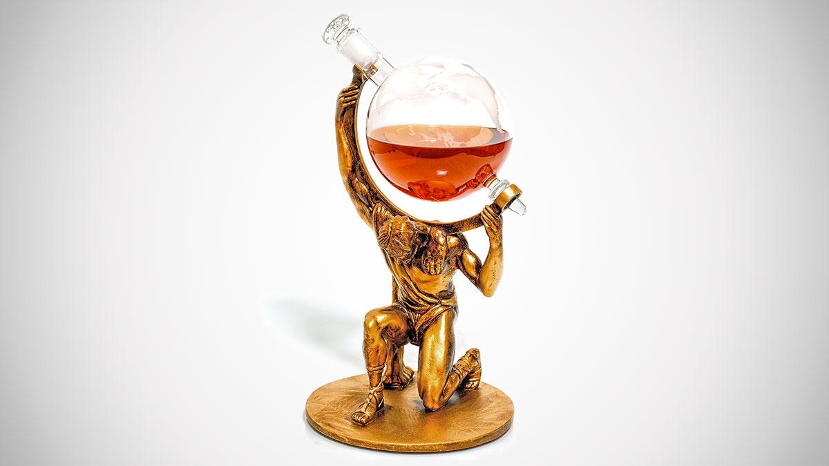 Atlas Etched Globe Liquor Decanter