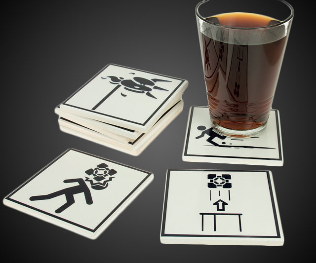 Portal 2 Warning Sign Coasters