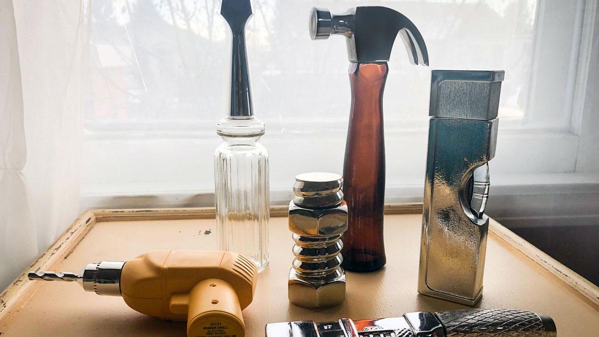 Vintage Avon Tool Box Decanter Bottle Set