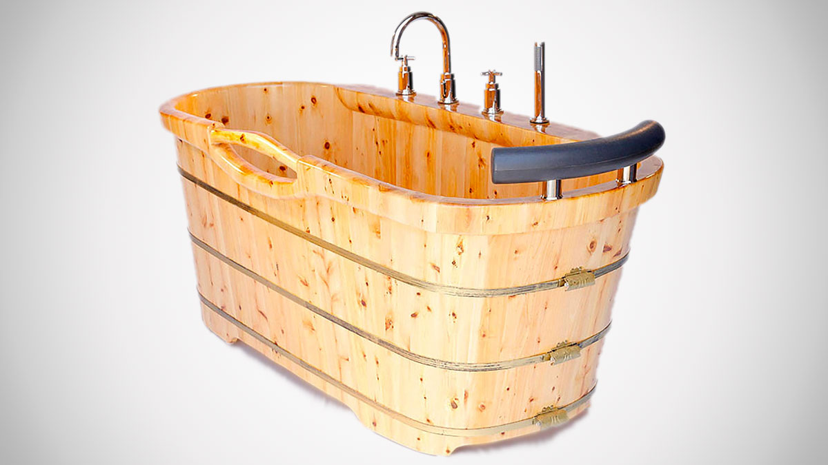 "61"" Freestanding Cedar Wood Bathtub"