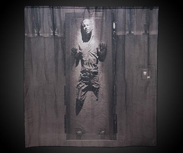 Cool Shower Curtains For Men han solo in carbonite shower curtain | dudeiwantthat