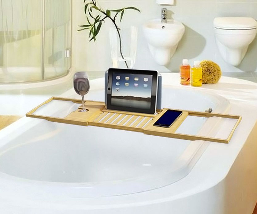 Luxury Bamboo Bathtub Caddy | DudeIWantThat.com