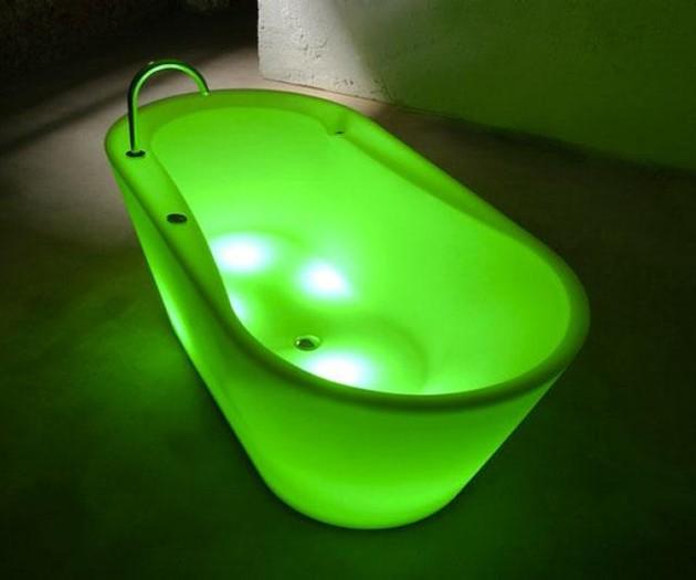 Neon Illuminated Bathtub