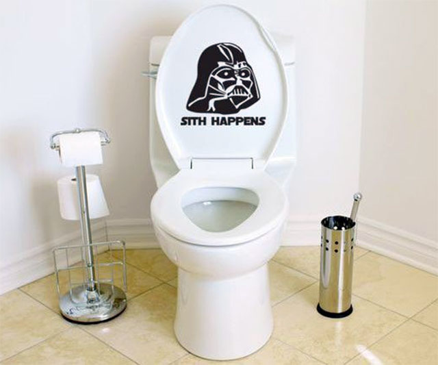 Sith happens darth vader toilet decal for Bad stuff happens in the bathroom