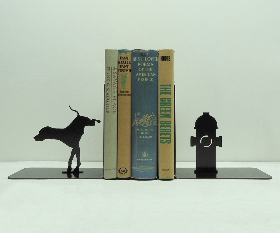 Dog Fire Hydrant Bookends