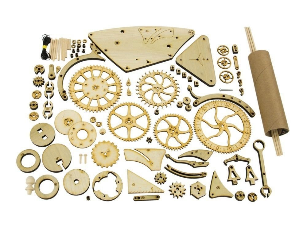 Mechanical Wooden Clock Kit | DudeIWantThat.com