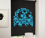 8-Bit Gaming Blinds - Blue Pac-Man Ghost