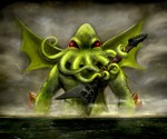 WTF? Icon Prints - Cthulhu Playing the Guitar