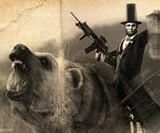 Abraham Lincoln Riding a Grizzly Print