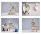 Hipster Skeleton Bathroom Prints