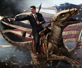 Ronald Reagan Riding a Velociraptor Print