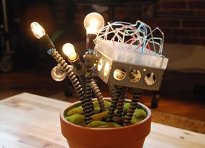 Industrial Cactus Lamp Sculpture