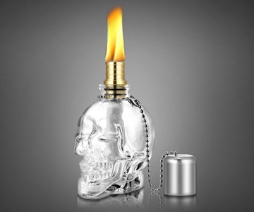 Glass Skull Tiki Torch