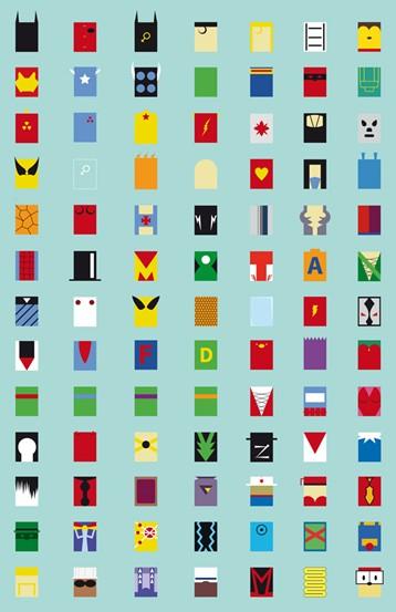 Minimalist Superheroes Print