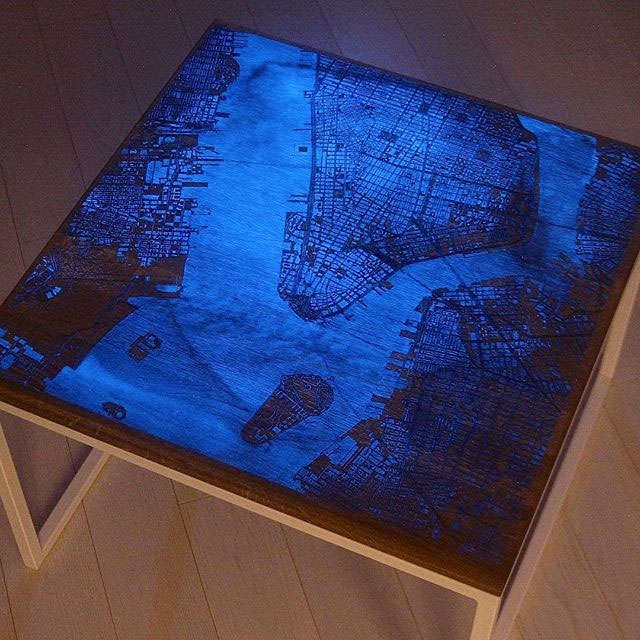 Glowing Wood Amp Resin City Map Coffee Tables