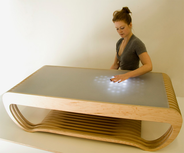 Interactive led tables - Table basse design bois ...