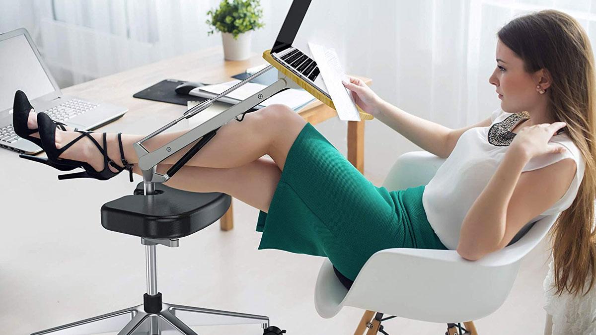 Mobile Laptop Desk with Adjustable Tabletop & Footrest