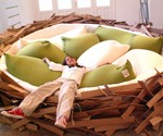 Girl Lying in Bird's Nest Bed