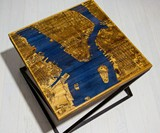 Glowing Wood & Resin City Map Coffee Tables