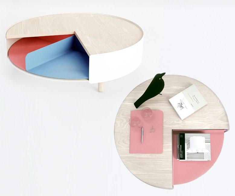 Rotating Pie Chart Coffee Table