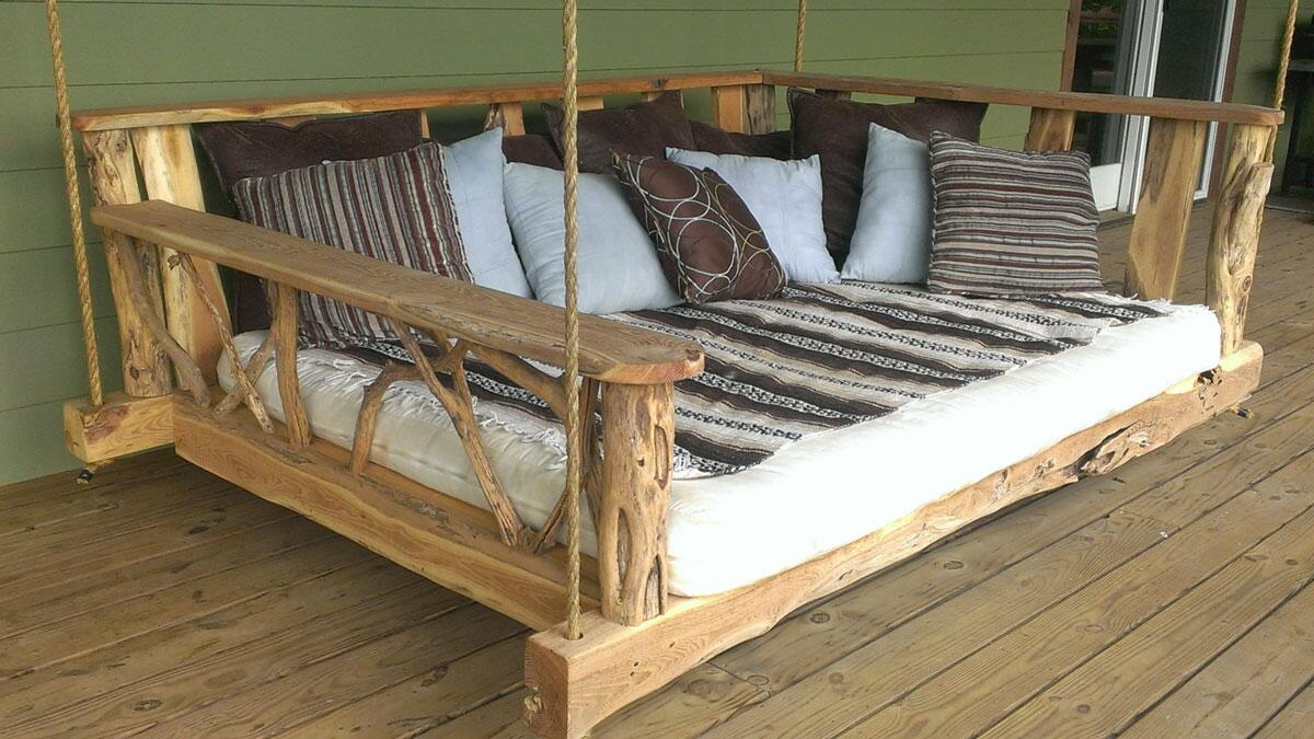 rustic porch swing bed. Black Bedroom Furniture Sets. Home Design Ideas