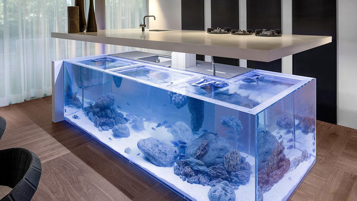 Fish tank in kitchen - Ocean Kitchen Aquarium Island