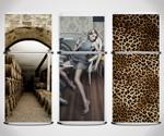 Fridge Skins - Wine Cellar, Lounging Woman, and Leopard Motifs