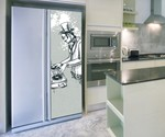 Steampunk Music Fridge Skin Magnet Installed in Kitchen