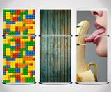 Fridge Skins - Lego, Weathered Wood, and Suggestive Banana Motifs