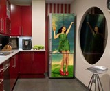 Girl Sloshing OJ Fridge Skin Magnet Installed in Kitchen