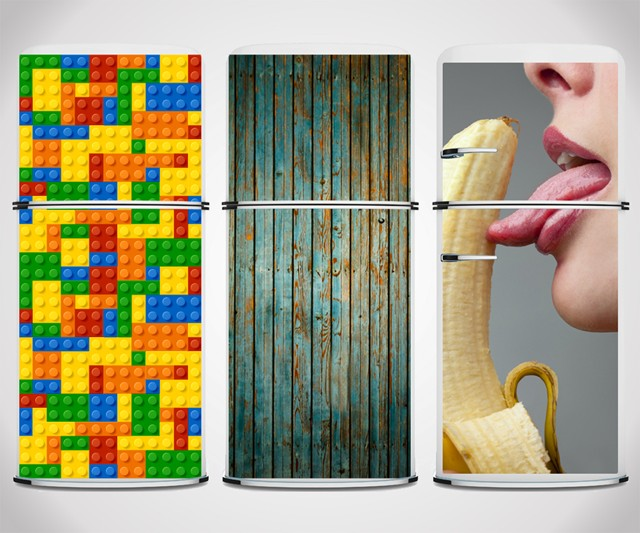 Fridge Skins - Lego, Weathered Wood, and Suggestive Banana Motifs