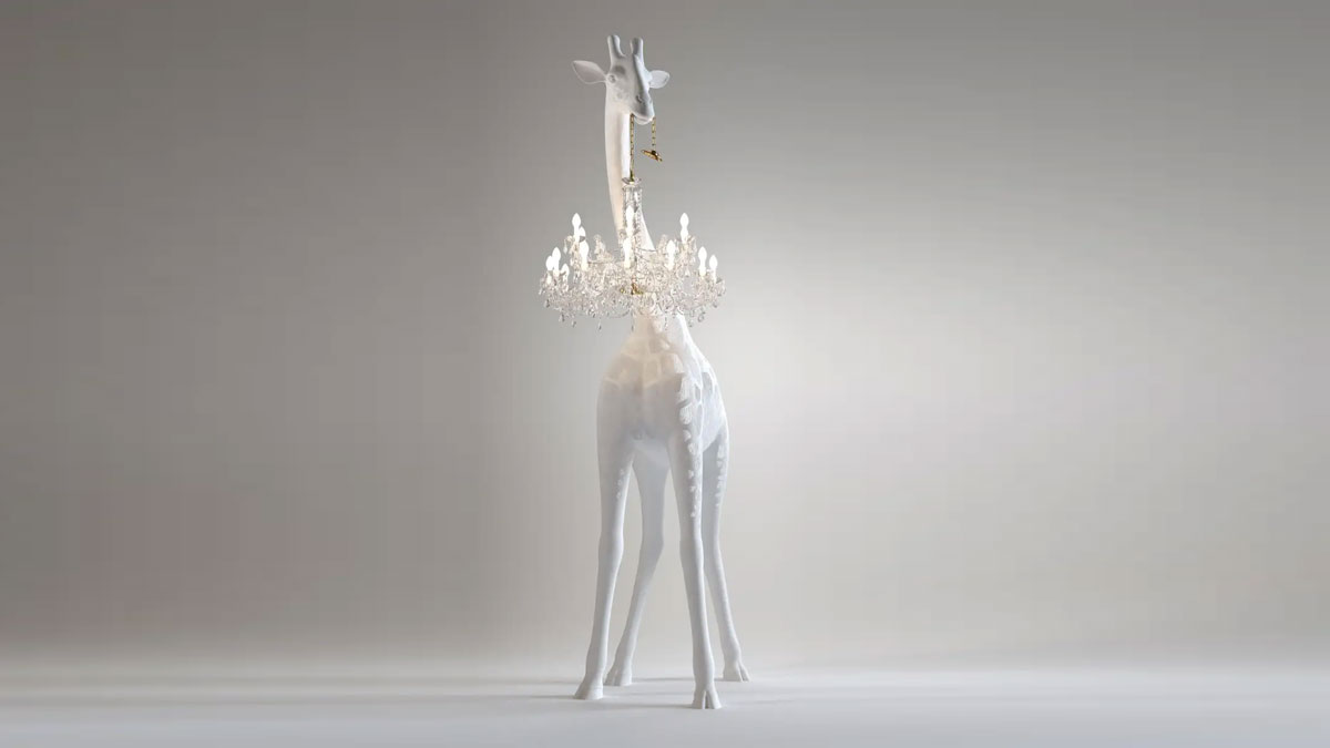 Life-Size Baby Giraffe Holding a Chandelier Light