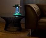 Alien Abduction Lamp - Lit on Table