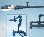 Plumbing Pipe Desk Lamp - Profile & Back Views