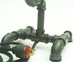 Plumbing Pipe Desk Lamp Closeup