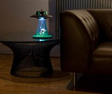 Alien Abduction Lamp - Lit on Table