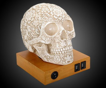 Day Of The Dead Lace Skull Lamp
