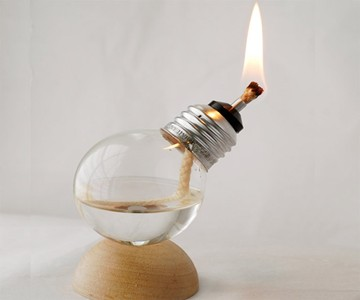 Recycled Light Bulb Oil Lamp - Lit