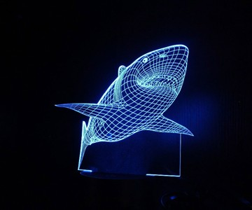 Shark Hologram LED Night Light Lamp