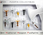 Medieval Weapons Push Pins