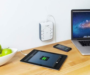 6-Outlet Surge Protector with Dual USB Ports