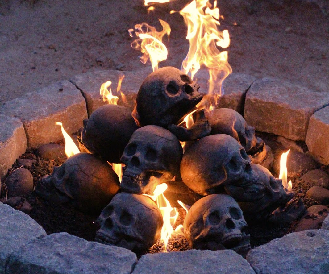 Time to surprise my girlfriend with a romantic night by the fire. And a romantic fire filled with human skull fireplace logs. Who knew bone made such fine kindling?  Oh yeah.  Funeral directors.  I kid
