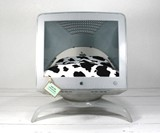 Apple Computer Pet Bed with Cow Print Slip Cover