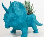 Triceratops Planter with Included Zebra Haworthia Succulent