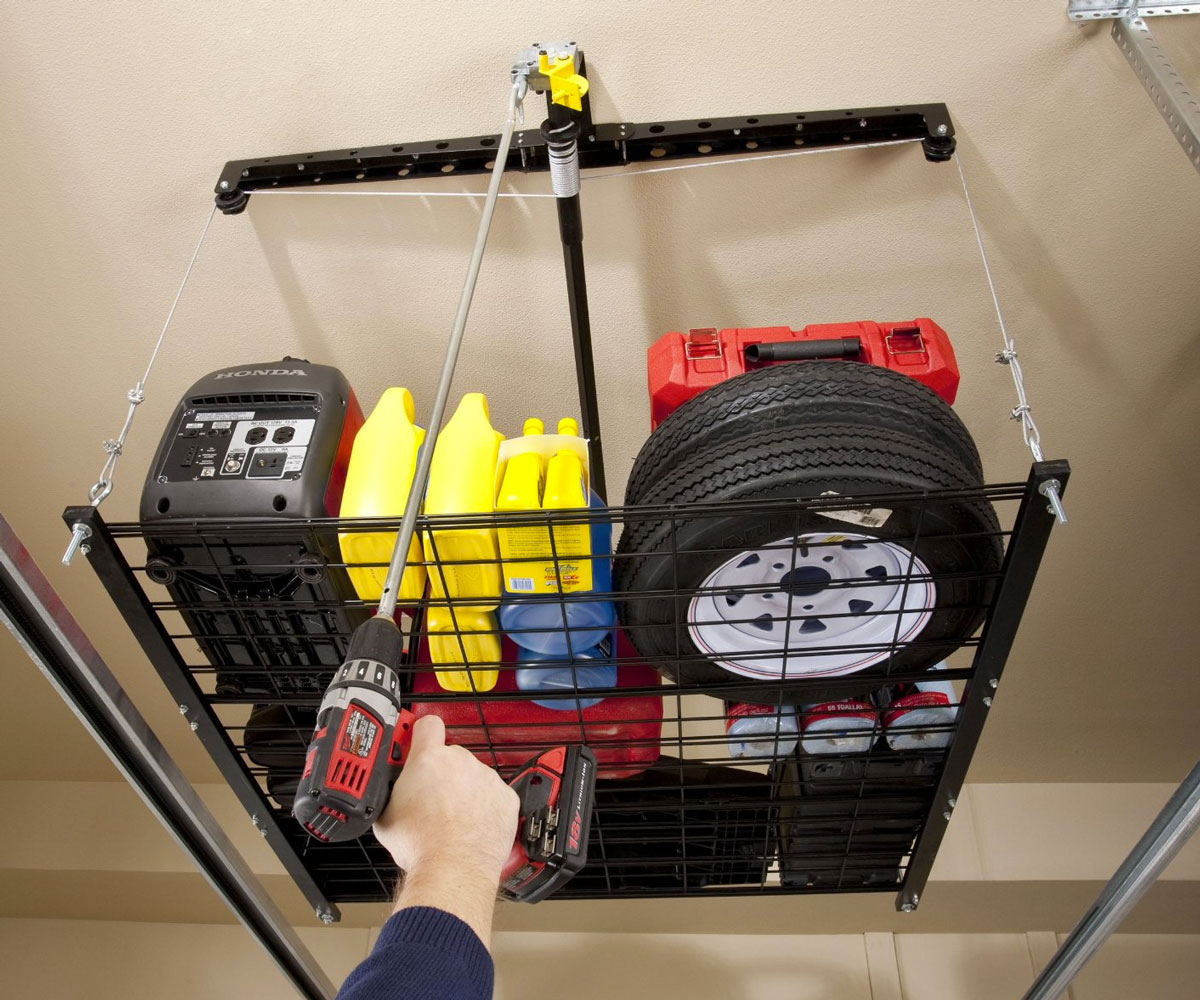 4 39 x 4 39 cable lifted storage rack - Idee de rangement pour garage ...