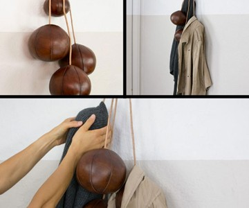 Old Leather Balls Coat Rack