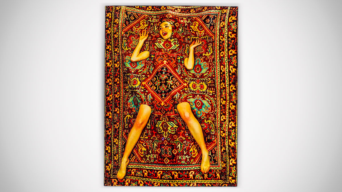 Lady on Carpet Rug
