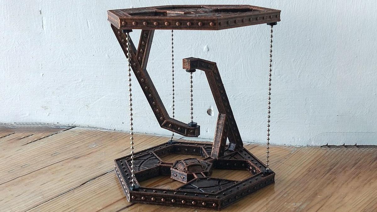Steampunk Tensegrity Optical Illusion Table